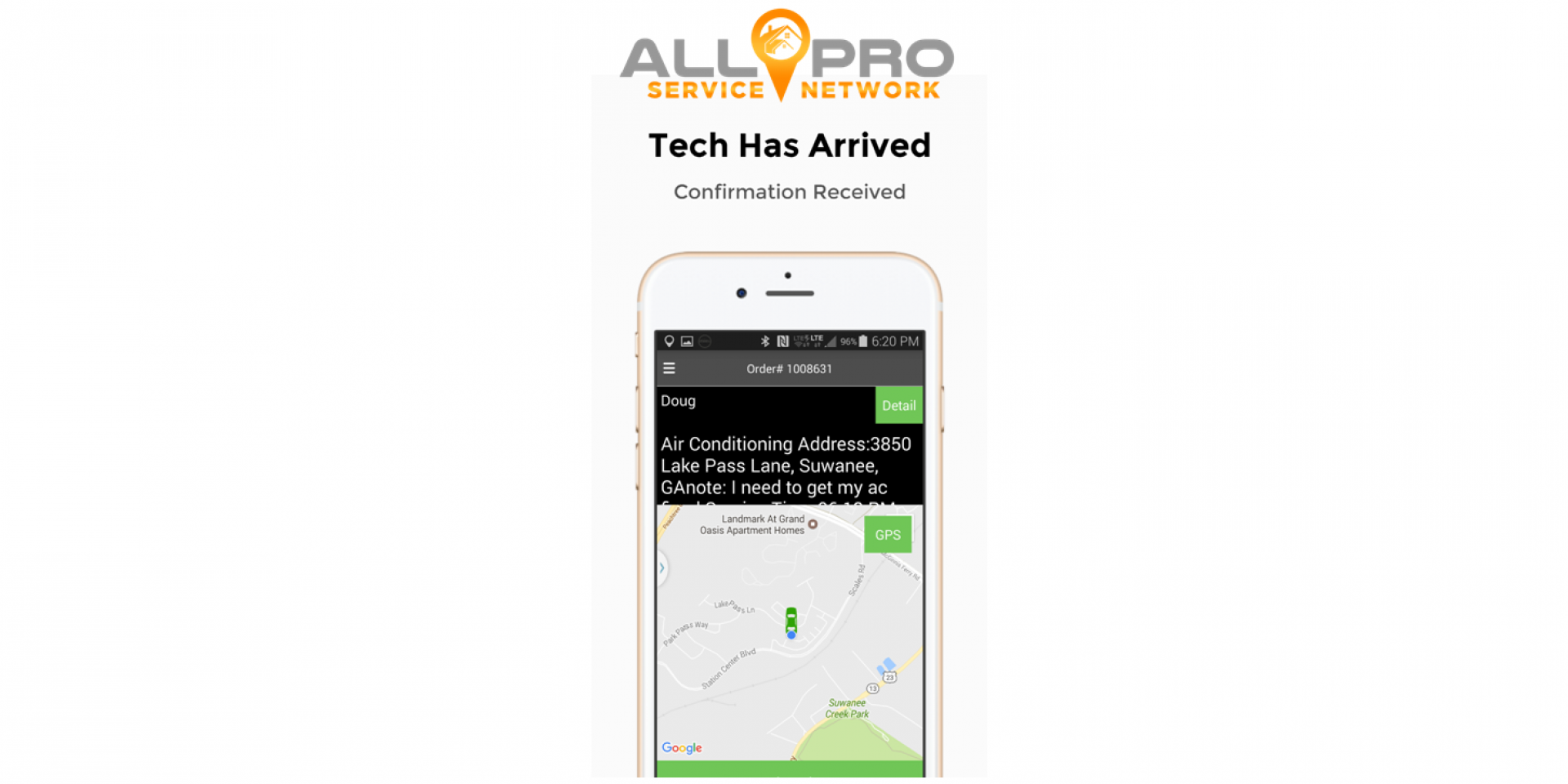 Techs Arrival is Sent to the Customer Mobile Device